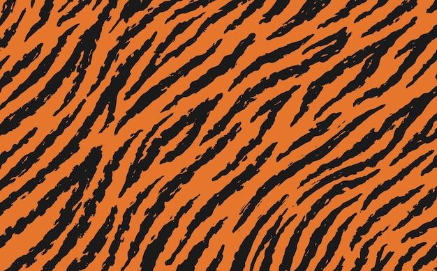 Single pattern of tiger skin in doodle vintage style