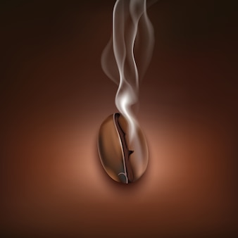 Single realistic hot roasted coffee bean on brown background vector illustration