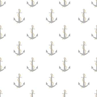 흰색 배경에 고리와 그림자 패턴이 있는 단일 사실적인 반짝이는 강철 앵커. 벡터 일러스트 레이 션.