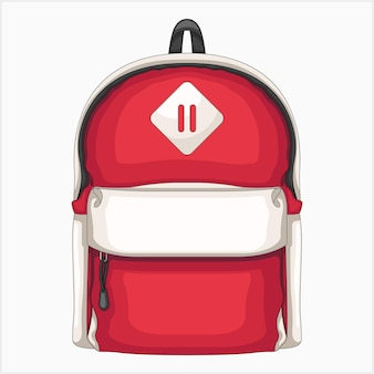 Один красный рюкзак векторные иллюстрации