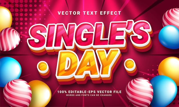 Single's day 3d text effect, editable text style and suitable for celebrate single's day