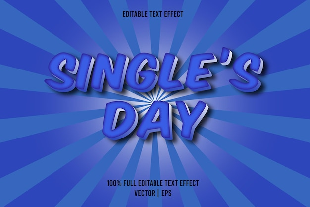 Single's day editable text effect blue color