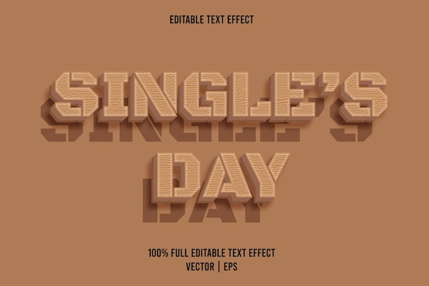 Single's day editable text effect brown color