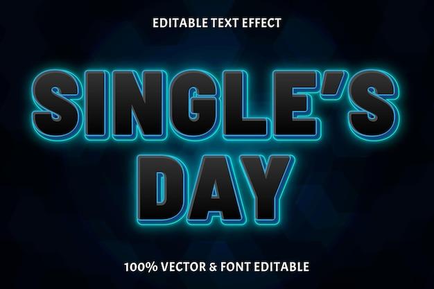 Редактируемый текстовый эффект дня одиночки цвет черный синий трехмерный неоновый стиль