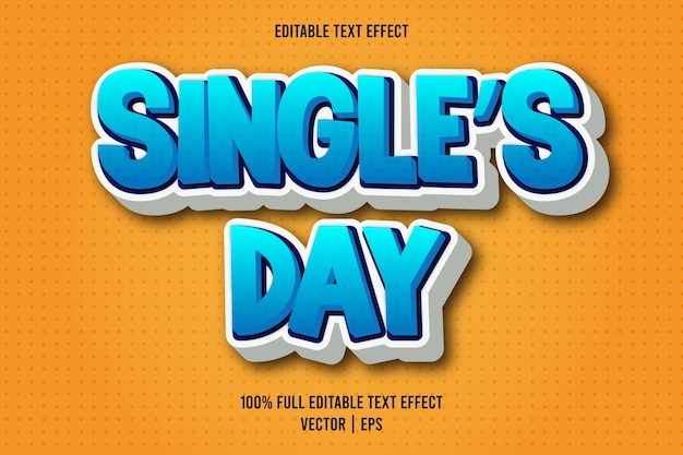 Single's day editable text effect comic style cyan and white color