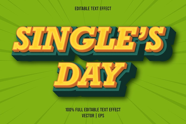 Single's day editable text effect comic style orange and green color