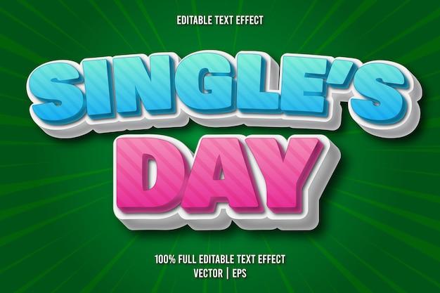 Редактируемый текстовый эффект в стиле комиксов single's day
