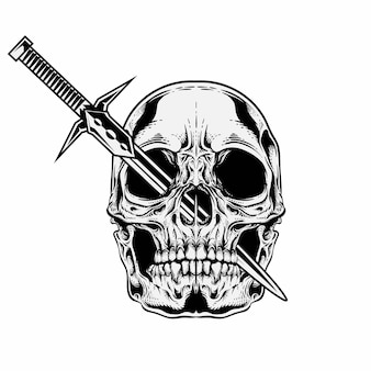 Single skull with sword on eyes