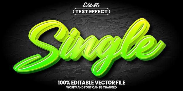 Single text, font style editable text effect
