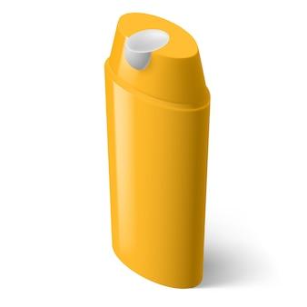 Single yellow isometric bottle of shampoo on white