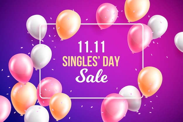 Singles day background with colorful realistic balloons