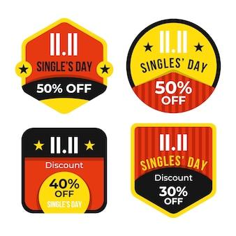 Collezione di badge per il giorno dei single