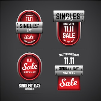 Singles day badges collection