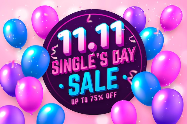 Singles' day banner with realistic balloons