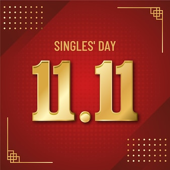 Singles' day festival red and golden design