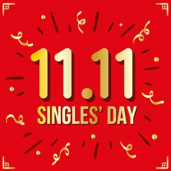 Singles' day red and golden design
