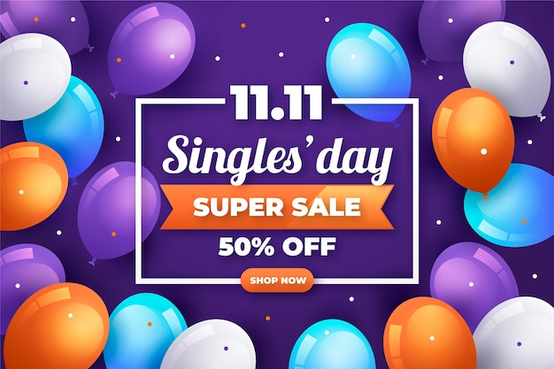 Singles day with balloons concept
