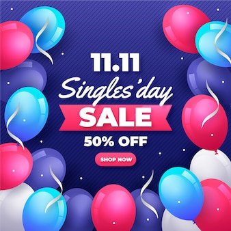 Singles day with balloons design