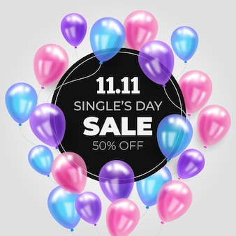 Singles' day with colorful balloons
