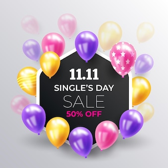 Singles' day with realistic balloons