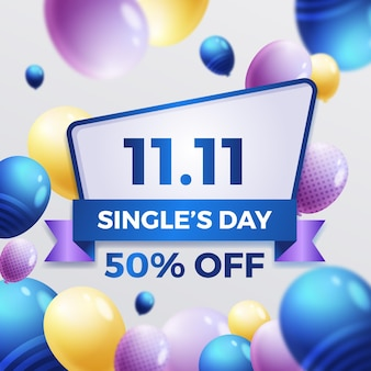 Singles day with realistic balloons