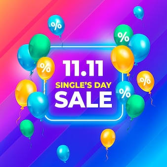 Singles' day with realistic design balloons
