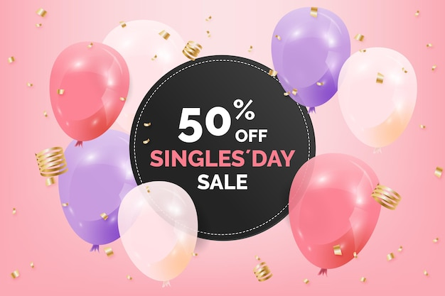 Singles day with realsitic balloons