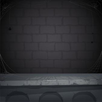Зловещий фон с каменной стеной, паутиной и пауком.