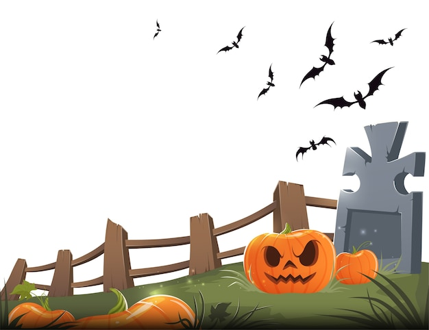 Sinister carved pumpkin with a grave, wooden fence and bats on a white background.