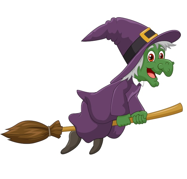 Sinister witch was riding broomstick on white background