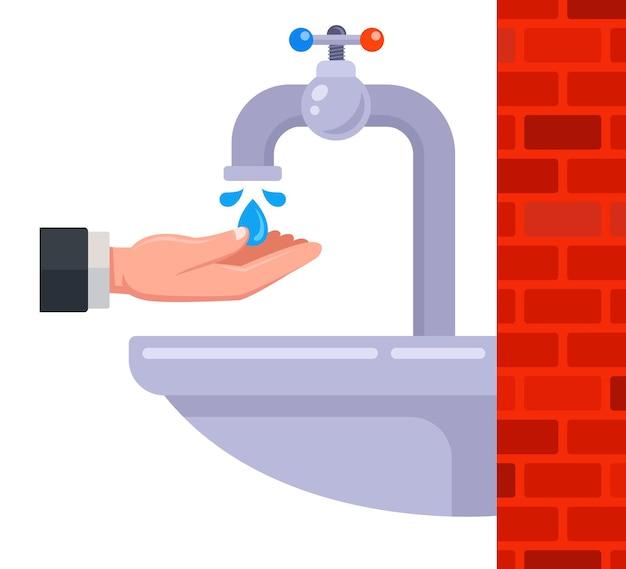 トイレに蛇口を入れて流します。洗浄装置。フラットベクトルイラスト。