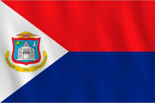Sint maarten flag with waving effect, official proportion.