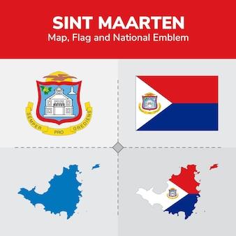 Sint maarten map, flag and national emblem