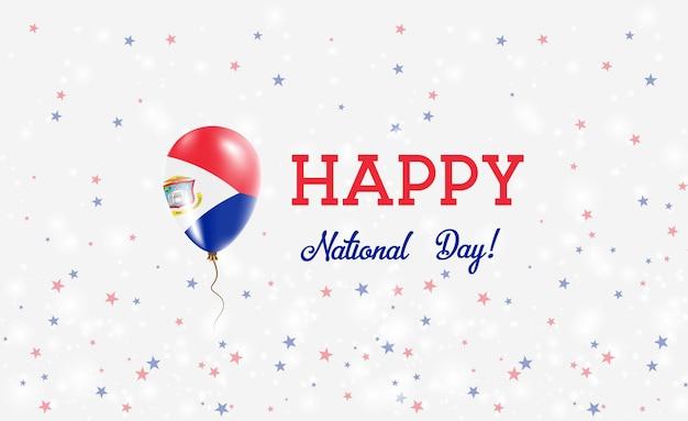신트마르텐 국경일 애국 포스터. 네덜란드 국기의 색상에 고무 풍선 비행. 풍선, 색종이 조각, 별, 보케, 반짝임이 있는 신트 마르텐 국경일 배경.
