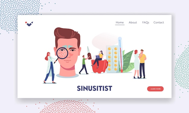 Sinusitis landing page template. tiny doctors or patient characters at huge male head with sinus cavity inflammation due to influenza cold, allergy, nasal infection. cartoon people vector illustration