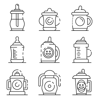 Sippy cup icons set. outline set of sippy cup vector icons