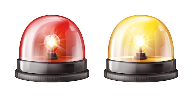 Siren alarm color lights 3d illustration