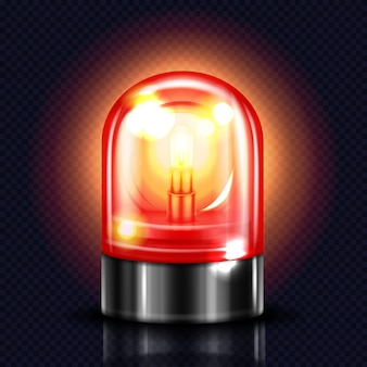 Siren light illustration of red alarm lamp or police and ambulance emergency flasher.