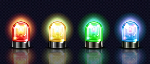 Siren lights illustration of red, yellow or green and blue alarm lamps or police and ambulance