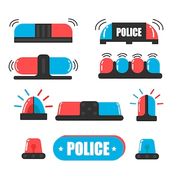 Siren. police officer flasher or ambulance flasher. siren police light vector. light bulbs are blue and red.