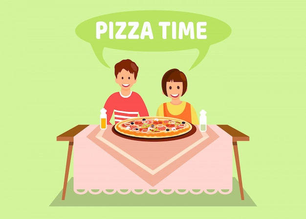 Sister and brother having dinner flat illustration