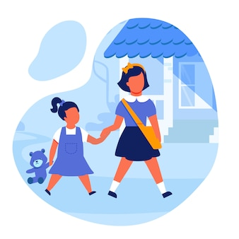 Sisters holding hands flat vector illustration