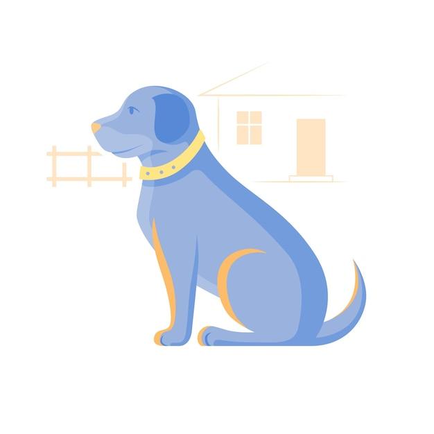 座っている犬のイラスト。