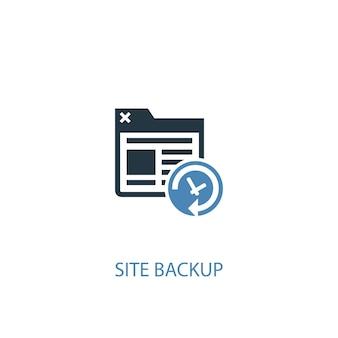 사이트 백업 개념 2 컬러 아이콘입니다. 간단한 파란색 요소 그림입니다. 사이트 백업 개념 기호 디자인입니다. 웹 및 모바일 ui/ux에 사용 가능