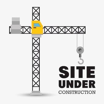 Site under construction, construction crane
