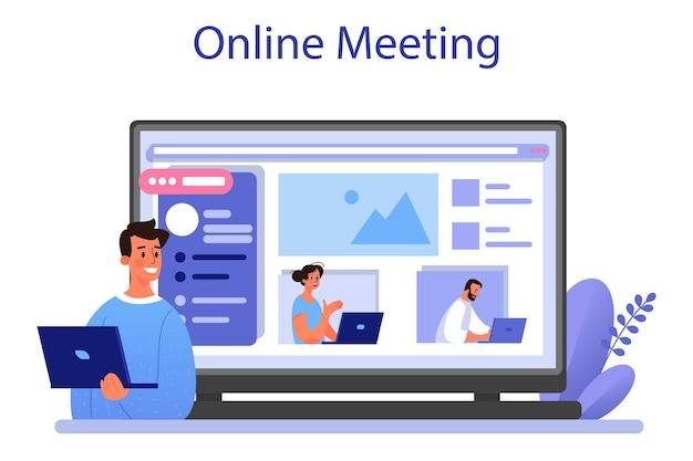 サイトコンテンツのオンラインサービスまたはプラットフォーム。メディアの充填、ビジネス開発のための応答性の高いバイラルコンテンツの作成。オンライン会議。フラットベクトルイラスト