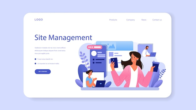 Site content web banner or landing page. media filling, making responsive and viral content for business development. business promotion in the internet. flat vector illustration