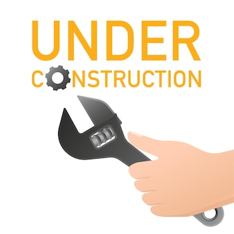 Site is under construction with key and hand banner