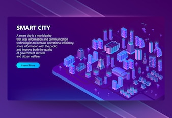 Site with 3d isometric ultraviolet megapolis
