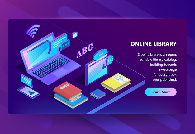 Site with online library, e-learning portal